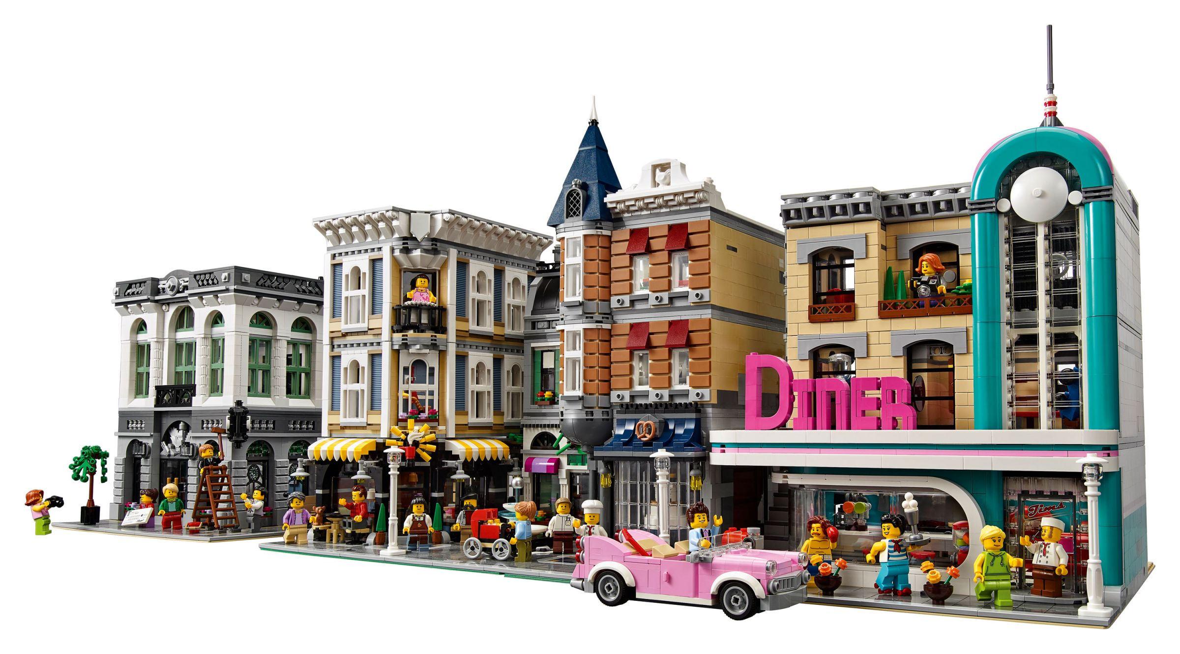 LEGO Advanced Models 10260 Amerikanisches Diner LEGO_10260_Downtown-Diner_Modulars_in_a_row.jpg